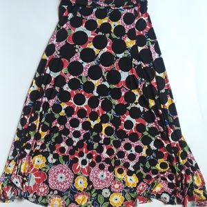 Lularoe Skirt Size Large Floral and Balck Dots